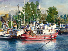 The Red Boat, California art by John Bohnenberger. HD giclee art prints for sale at CaliforniaWatercolor.com - original California paintings, & premium giclee prints for sale