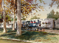Travel Town, Griffith Park, L.A., California art by John Bohnenberger. HD giclee art prints for sale at CaliforniaWatercolor.com - original California paintings, & premium giclee prints for sale