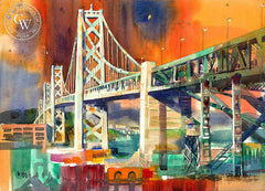 Bay Bridge, 1975, California watercolor art by Ken Potter. HD giclee art prints for sale at CaliforniaWatercolor.com - original California paintings, & premium giclee prints for sale