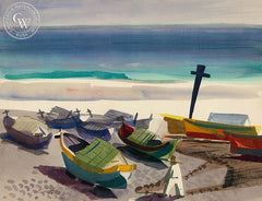Boats, Cabo Frio, Brazil, 1954, California art by Ken Potter. HD giclee art prints for sale at CaliforniaWatercolor.com - original California paintings, & premium giclee prints for sale