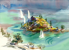 Emerald Bay Island, 1987, California art by Ken Potter. HD giclee art prints for sale at CaliforniaWatercolor.com - original California paintings, & premium giclee prints for sale
