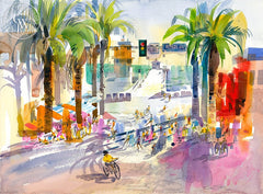 Hermosa Beach, 2000, California art by Ken Potter. HD giclee art prints for sale at CaliforniaWatercolor.com - original California paintings, & premium giclee prints for sale
