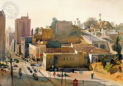 Moore Hill, Los Angeles, 1940, California art by Emil Kosa Jr.. HD giclee art prints for sale at CaliforniaWatercolor.com - original California paintings, & premium giclee prints for sale