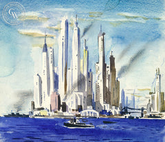 New York Skyline, California art by Lee Blair. HD giclee art prints for sale at CaliforniaWatercolor.com - original California paintings, & premium giclee prints for sale