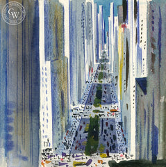 New York Wall Street, California art by Lee Blair. HD giclee art prints for sale at CaliforniaWatercolor.com - original California paintings, & premium giclee prints for sale