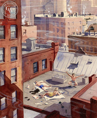 Sunbathing on the Rooftops, c. 1930's, California art by Lee Blair. HD giclee art prints for sale at CaliforniaWatercolor.com - original California paintings, & premium giclee prints for sale