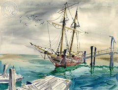 Squarerigger, California art by Lois Green Cohen. HD giclee art prints for sale at CaliforniaWatercolor.com - original California paintings, & premium giclee prints for sale