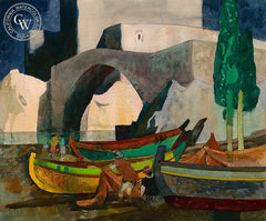 Fisherman and Nets, 1971, California art by Millard Sheets. HD giclee art prints for sale at CaliforniaWatercolor.com - original California paintings, & premium giclee prints for sale