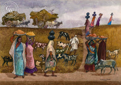 Forever Moving, India, 1980, California art by Millard Sheets. HD giclee art prints for sale at CaliforniaWatercolor.com - original California paintings, & premium giclee prints for sale
