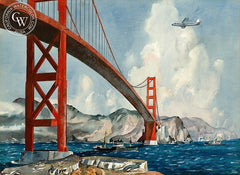 Golden Gate Passage, c. 1950's, California art by Millard Sheets. HD giclee art prints for sale at CaliforniaWatercolor.com - original California paintings, & premium giclee prints for sale