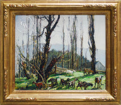 Millard Sheets - Green Pastures, c. 1920's, an original California oil painting for sale, original California art for sale - CaliforniaWatercolor.com