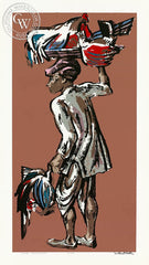 Millard Sheets - Indian Poultry Man, c. 1940's - California art - fine art print for sale, giclee watercolor print - Californiawatercolor.com