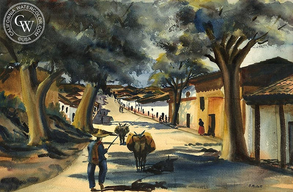 Street in Patzcuro, Mexico, 1939, California art by Othello Michetti. HD giclee art prints for sale at CaliforniaWatercolor.com - original California paintings, & premium giclee prints for sale