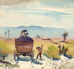 Grape Harvest, c. 1930s, California art by Phil Dike. HD giclee art prints for sale at CaliforniaWatercolor.com - original California paintings, & premium giclee prints for sale