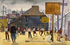 Playground, Temple Street School, Los Angeles, 1932, California watercolor art by Phil Dike. HD giclee art prints for sale at CaliforniaWatercolor.com - original California paintings, & premium giclee prints for sale