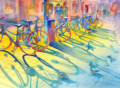 Bikes in March, Innsbruck, California art by Sid Bingham. HD giclee art prints for sale at CaliforniaWatercolor.com - original California paintings, & premium giclee prints for sale