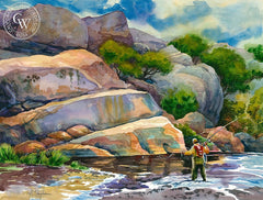 The Game Begins, Kern River, Sequoia National Forest, California art by Sid Bingham. HD giclee art prints for sale at CaliforniaWatercolor.com - original California paintings, & premium giclee prints for sale