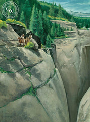 Tracking on the Trail, 1987, California art by Sid Bingham. HD giclee art prints for sale at CaliforniaWatercolor.com - original California paintings, & premium giclee prints for sale