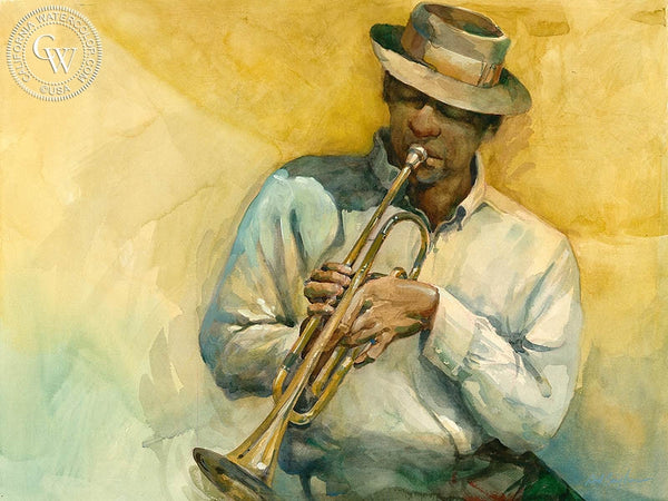 Trumpet Player 2, California art by Sid Bingham. HD giclee art prints for sale at CaliforniaWatercolor.com - original California paintings, & premium giclee prints for sale