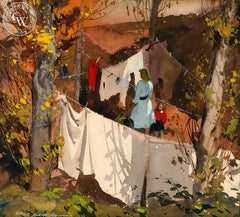 Clothesline, 1945, California art by Hardie Gramatky. HD giclee art prints for sale at CaliforniaWatercolor.com - original California paintings, & premium giclee prints for sale