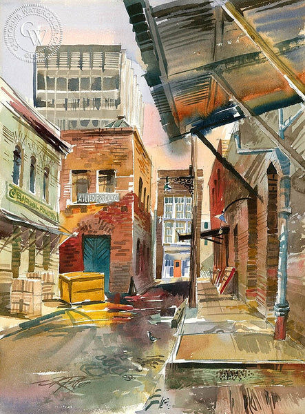 Ceylon Street, 1962, California art by Ken Potter. HD giclee art prints for sale at CaliforniaWatercolor.com - original California paintings, & premium giclee prints for sale