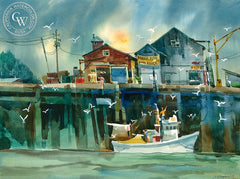 Bringing in the Catch, California art by Sid Bingham. HD giclee art prints for sale at CaliforniaWatercolor.com - original California paintings, & premium giclee prints for sale