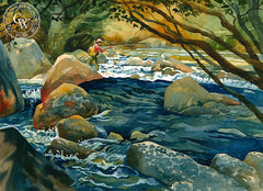 Early Sunday Morning on the Kern, California art by Sid Bingham. HD giclee art prints for sale at CaliforniaWatercolor.com - original California paintings, & premium giclee prints for sale