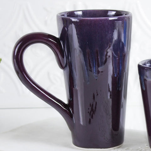 Ceramic Coffee Eggplant Purple Blue White tea cup handmade pottery Kitchen gift