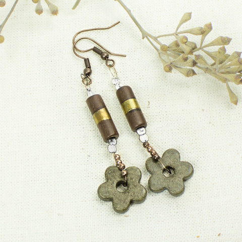 Olive Green Flower Earrings