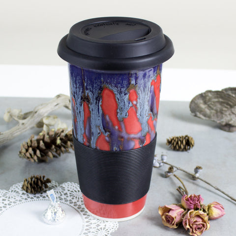 Autumn Red Travel Mug with Lid, To Go coffee cup, Silicone Lid, BlueRoomPottery
