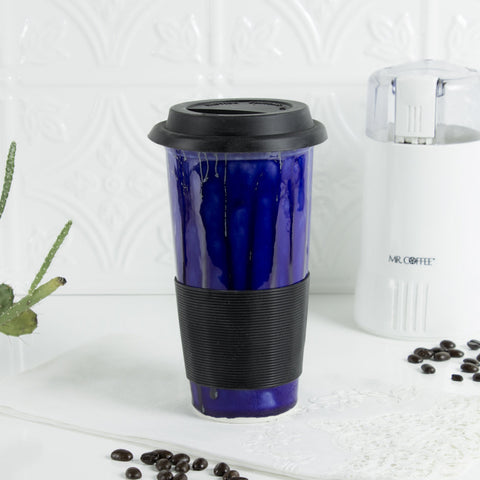 Cobalt Blue Coffee Travel mug with silicon lid handmade pottery