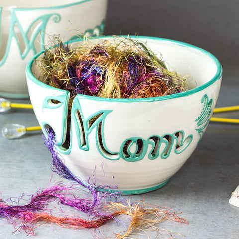 Mom Yarn bowl with Cutout Letters and Green Highlights