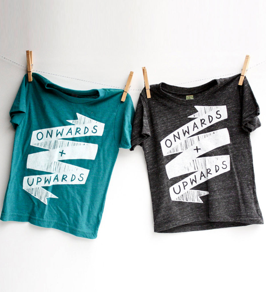 Onwards and Upwards - kids hand printed optimism shirt