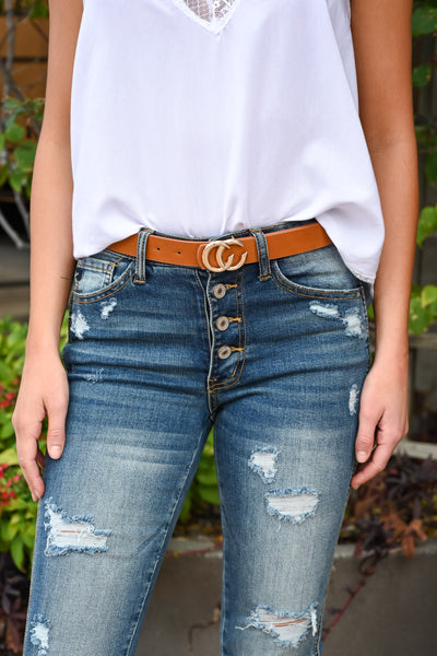 CC Skinny Belt - Tan & Gold women's classic belt, Closet Candy Boutique 1
