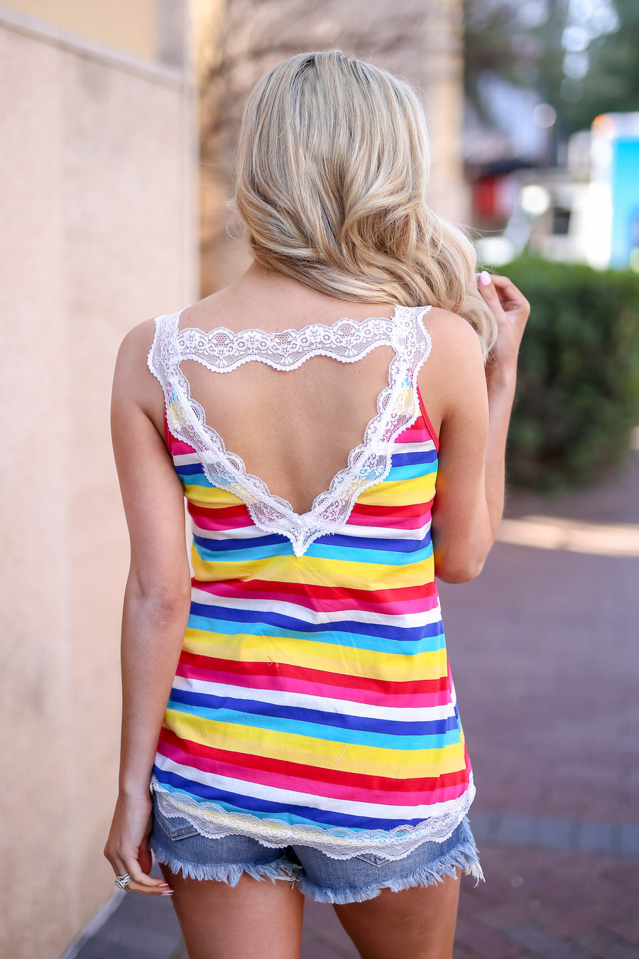 Your Future Is Bright Striped Cami - Multi women's colorful lace camisole, Closet Candy Boutique 1