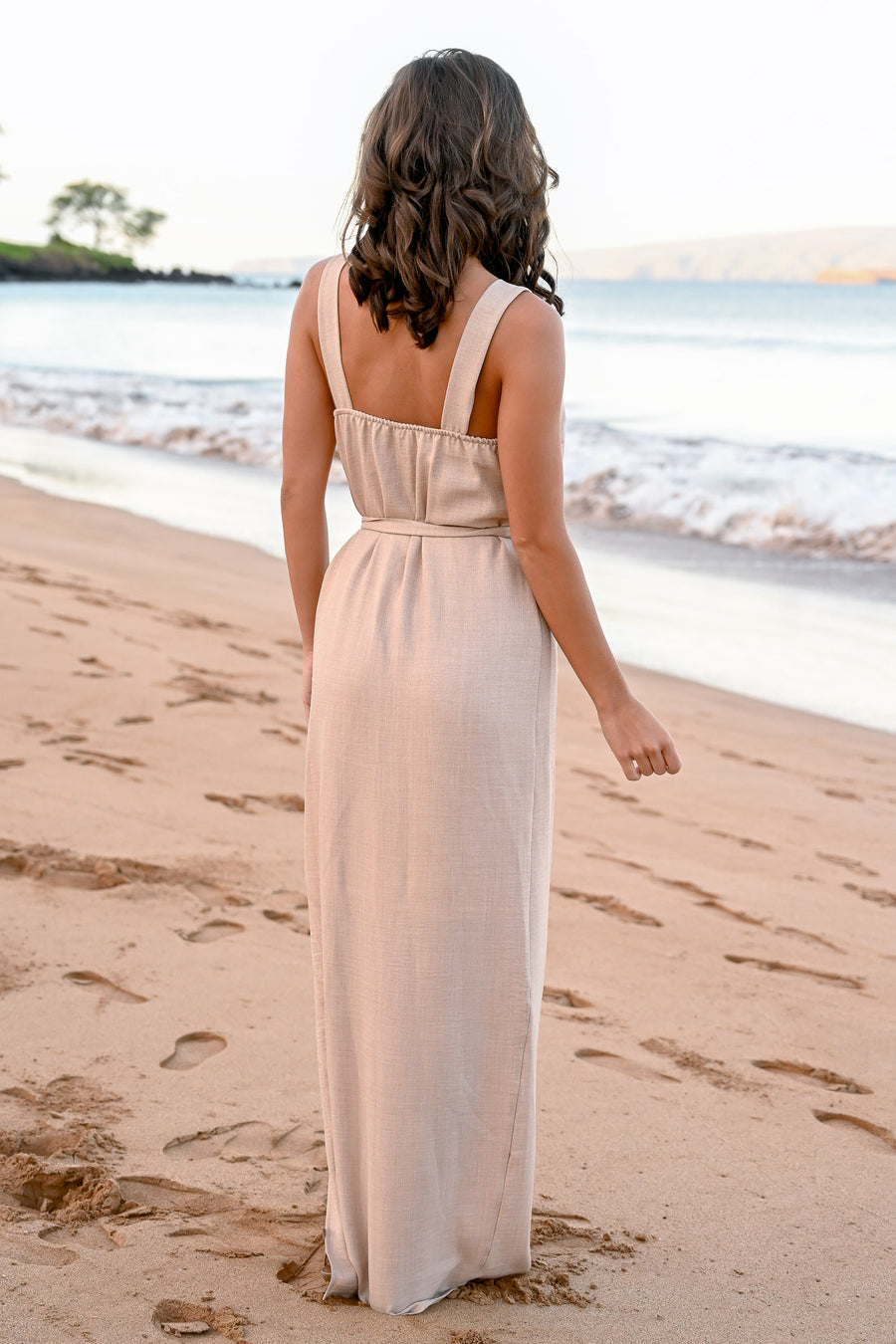 CCB Mornings at Wailea Maxi Dress - Natural womens self tie button detail long dress closet candy side 1