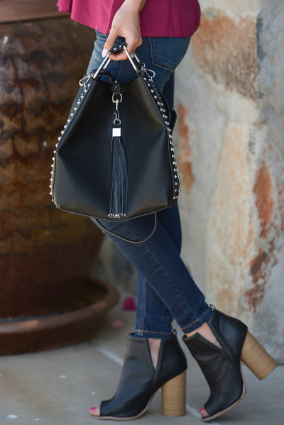 Adele Purse - Black vegan leather tassel and stud purse, side, Closet Candy Boutique