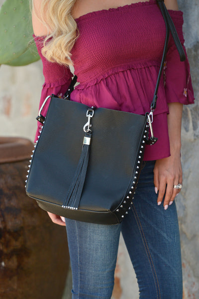 Adele Purse - Black vegan leather tassel and stud purse, front, Closet Candy Boutique