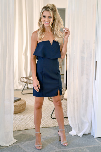 Secret Rendezvous Strapless Dress  - Navy womens strapless sexy party dress closet candy front 2