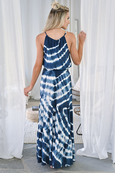 So Many Places To Go Maxi Dress - Navy womens trendy long tie dye dress closet candy back
