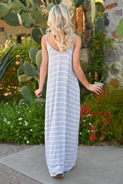 Something Simple Striped Maxi Dress - Heather Grey womens casual spaghetti strap striped long dress back