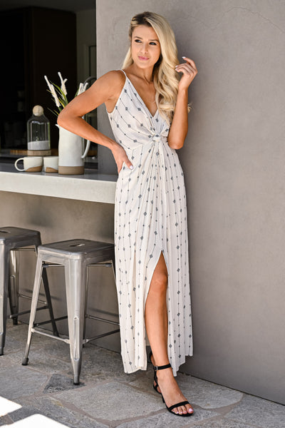 Change Directions Maxi Dress - Natural & Black womens trendy v-neck geometric print knot front long dress closet candy side