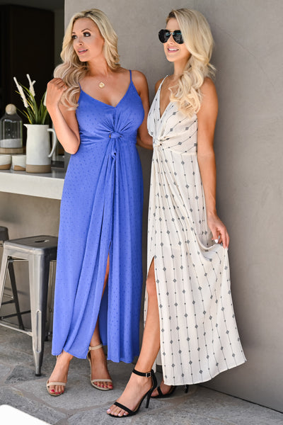 Change Directions Maxi Dress - Natural & Black womens trendy v-neck geometric print knot front long dress closet candy both girls