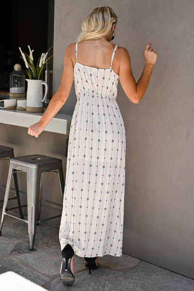 Change Directions Maxi Dress - Natural & Black womens trendy v-neck geometric print knot front long dress closet candy back