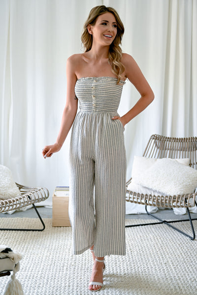 Ocean Beach Jumpsuit - Natural womens trendy strapless striped button front jumpsuit closet candy front2