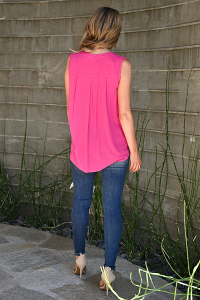 Midnight Sky Top - Fuchsia womens trendy sleeveless front pocket button up top closet candy back