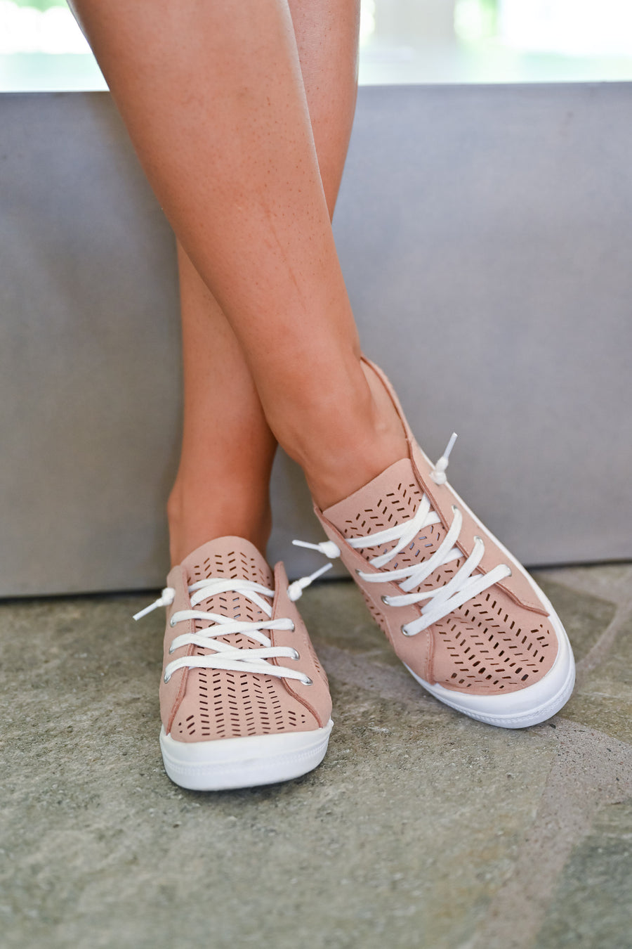 Ayanna Sneakers - Blush womens casual laser cut breathable sneakers closet candy side