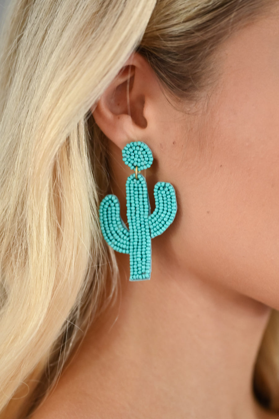 Looking Sharp Cactus Earrings - Turquoise womens trendy colorful beaded cactus earrings closet candy side