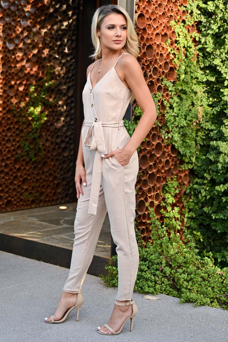 CCB Dinner in Laguna Beach Jumpsuit - Natural womens trendy button detail tie front jumpsuit closet candy front