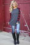 Keep It Cozy Top - cute plaid raglan top, fall outfit, Closet Candy Boutique 1